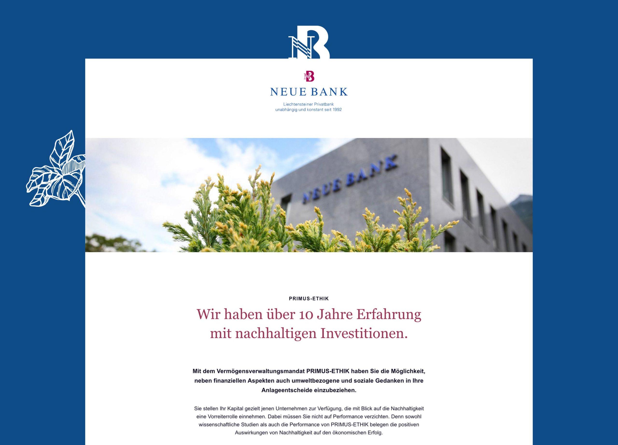 Webseite – Landingpage Neue Bank Liechtenstein