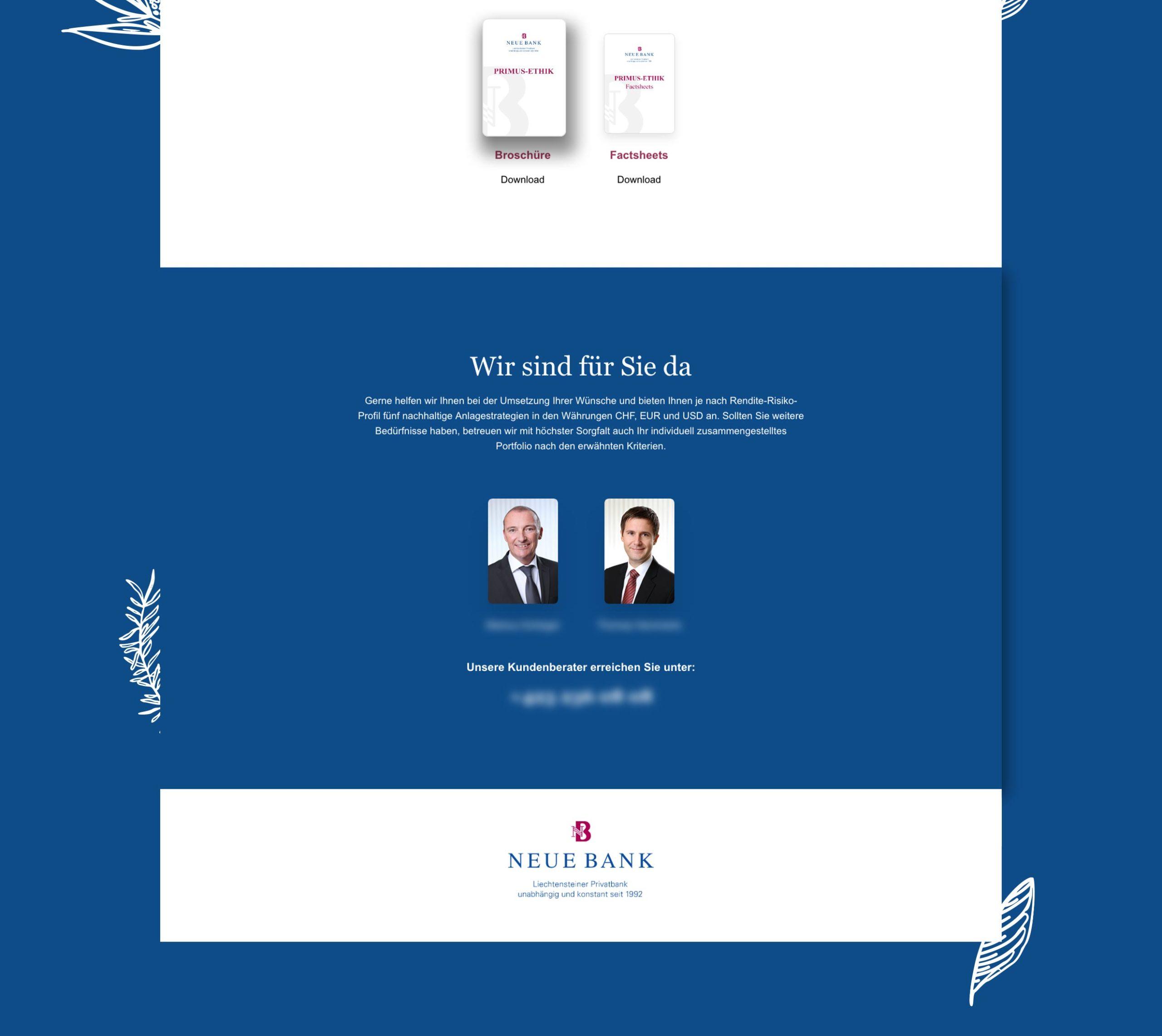 Webseite für Neue Bank Liechtenstein